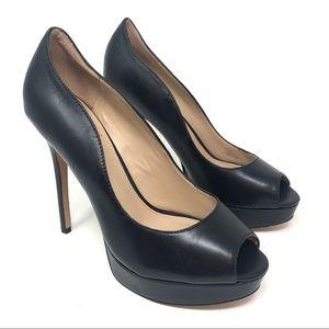 Vince Camuto Lainey Black Leather Platform Heels
